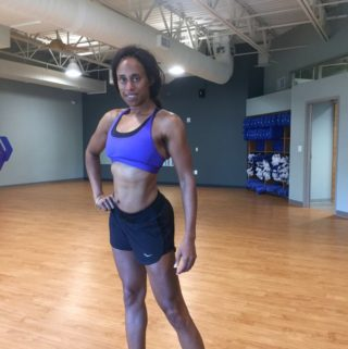 3 weeks out posing after workout