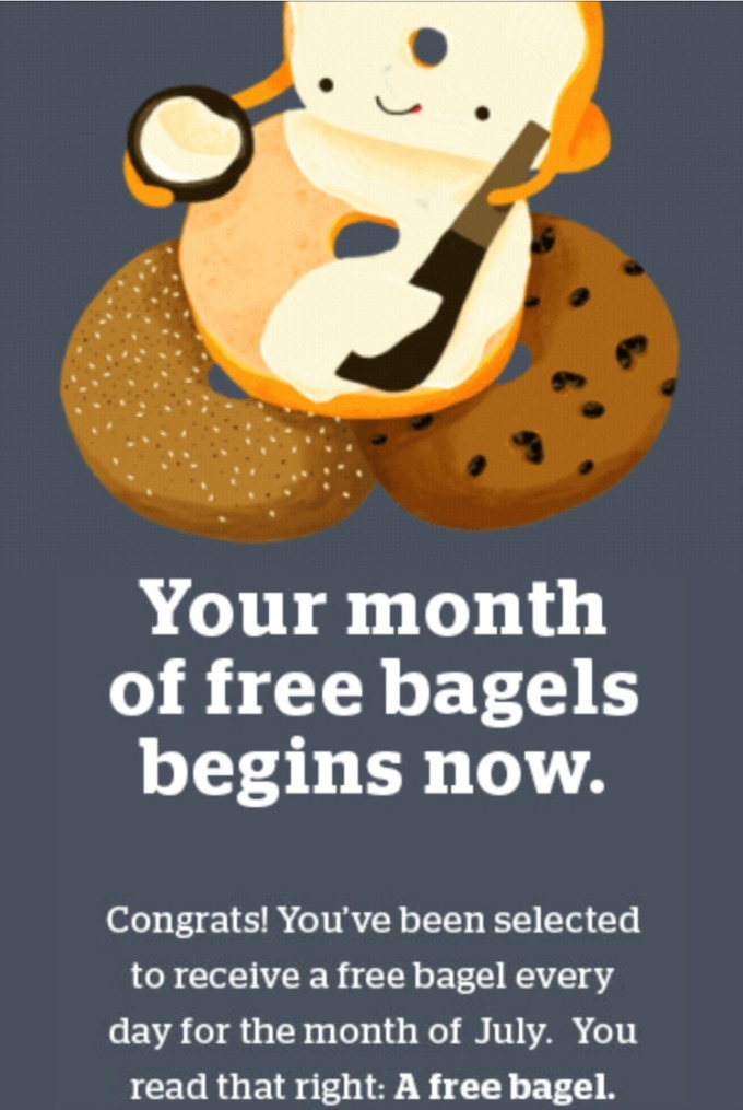 Panera bagels for free in July