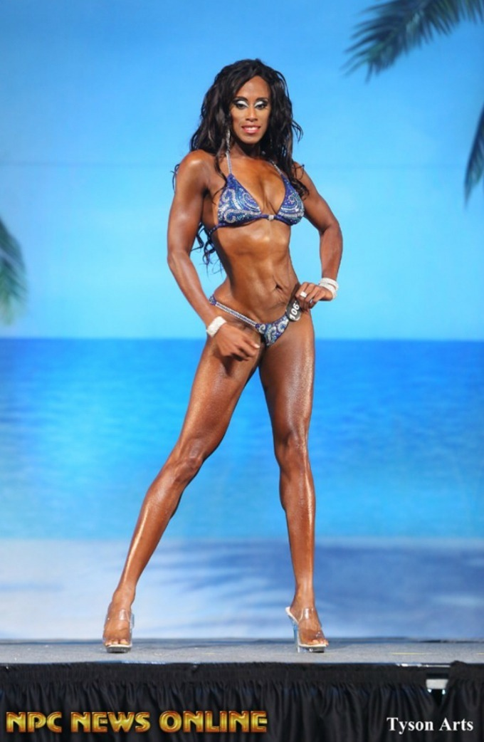 NPC Stewart Fitness stage photo. Placed 2nd masters bikini and 3rd open bikini class D