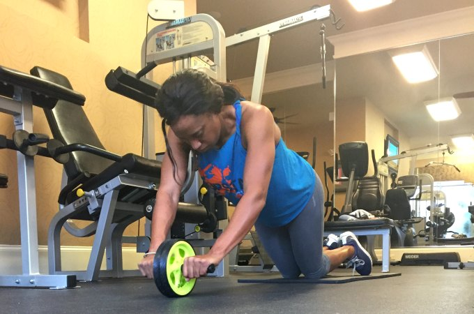 Ab wheel starting position. Place ab wheel in front of you with both hands on it.