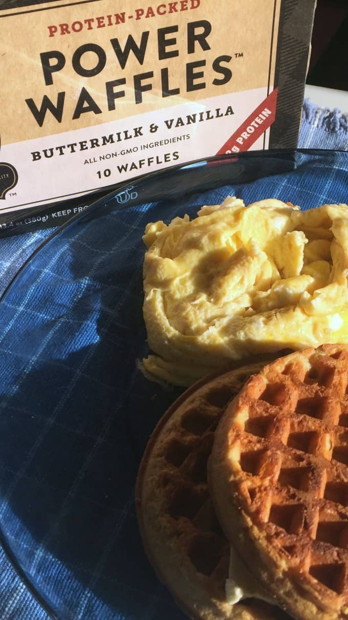 breakfast made simple with kodiak cakes waffles